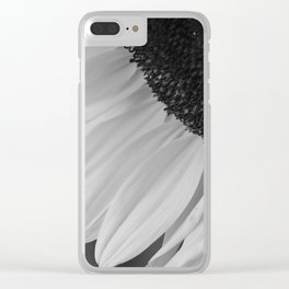 Black and White Sunflower Photography Print Clear iPhone Case