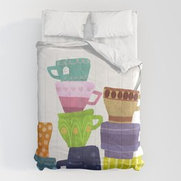 Coffee And Tea Cups And Mugs Stacked High Comforters