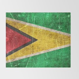Vintage Aged and Scratched Guyanese Flag Throw Blanket