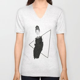 Girl in a black dress Unisex V-Neck