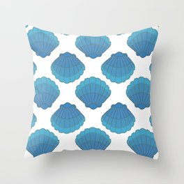 Blue Seashell Mosaic Pattern Throw Pillow