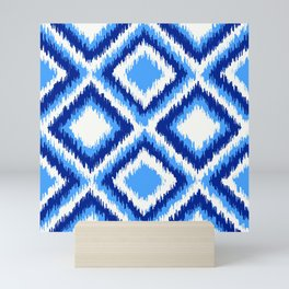 IKAT pattern, indigo blue and white, 08 Mini Art Print
