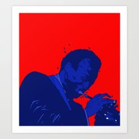 miles davis Art Prints featuring Miles Red Variant  by Dave P
