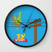 toy story Wall Clocks featuring Toy Story - Falling With Style by Gary Wood