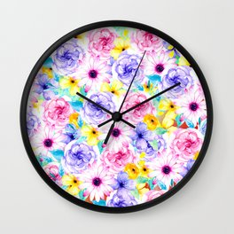 Pink lavender hand painted watercolor flowers Wall Clock
