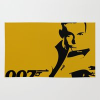 james bond Area & Throw Rugs featuring 007 James Bond by Walter Eckland