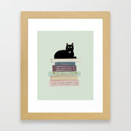 Books & Cats Framed Art Print