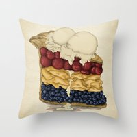 american Throw Pillows featuring American Pie by Megs stuff...