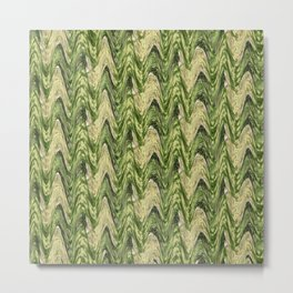 Zigzag Green Metal Print