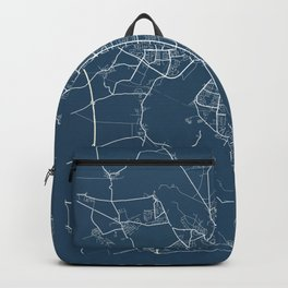 Halle Blueprint Street Map, Halle Colour Map Prints Backpack