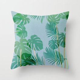 Monstera deliciosa green and blue Throw Pillow