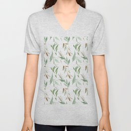 Pastel green brown watercolor hand painted leaves Unisex V-Neck