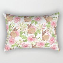 Pink brown watercolor roses floral bunny rabbit Rectangular Pillow