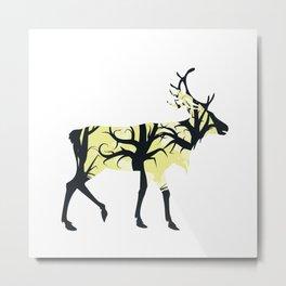 Night Deer Silhouette Metal Print