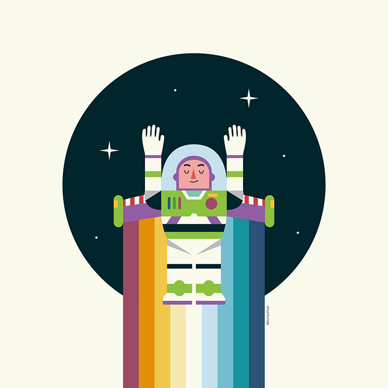 illustration of Buzz Lightyear blasting off into space