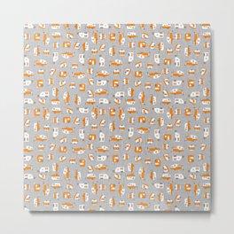 Orange Campers on Charcoal Metal Print