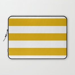 Mustard yellow - solid color - white stripes pattern Laptop Sleeve