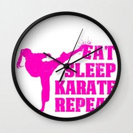 Eat Sleep KarateRepeat Gift for Art Martials Lovers Wall Clock