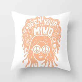 Open Your Mind in orange Throw Pillow