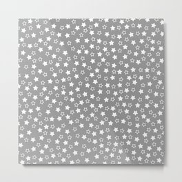 GRAY WHITE STARS Metal Print
