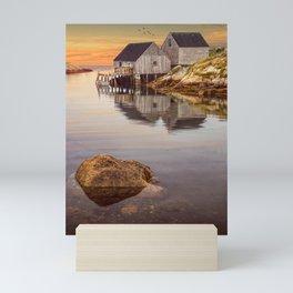 Peggy's Cove Harbor at Sunset in Nova Scotia Mini Art Print