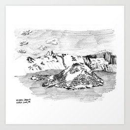 Drawing of Wizard Island in Crater Lake from the Rim Art Print