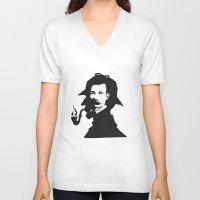 conan V-neck T-shirts featuring Sir Arthur Conan Doyle by VivienKunde