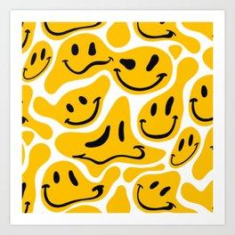 TRIPPY MELTING SMILE PATTERN Art Print