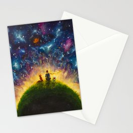 Hand painted painting Little prince and Fox, Red Rose by Valery Rybakow Stationery Cards