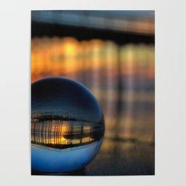 Avila Pier Captured in a crystal ball at sunrise Poster