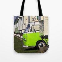 vw bus Tote Bags featuring Vdub VW Bus by Rainer Steinke