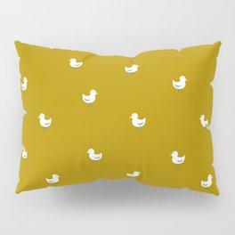 White birds in mustard orange Pillow Sham