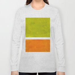 Retro Lime Green Minimalist Abstract Color Block Rothko Midcentury Modern Art Long Sleeve T-shirt