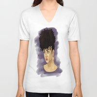 afro V-neck T-shirts featuring Afro by Adelys