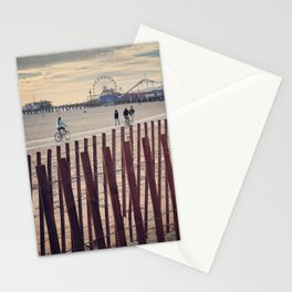 People cycling on Santa Monica beach, California, USA Stationery Cards