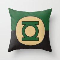 dc comics Throw Pillows featuring Green Lantern Logo Minimalist Art Print DC Comics by The Retro Inc
