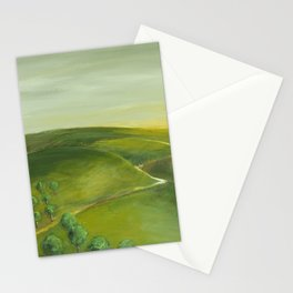 Sunrise Over Green Landscape Stationery Cards