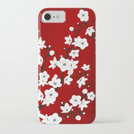 Red Black And White Cherry Blossoms iPhone Case
