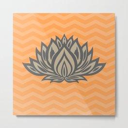 Lotus Meditation Orange Throw Pillow Metal Print