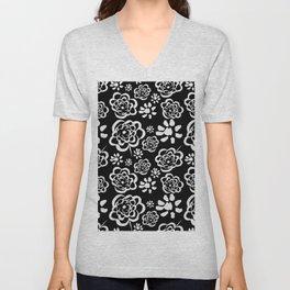Flowers on Black Unisex V-Neck