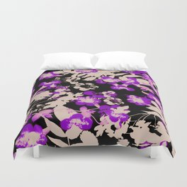 purple canary creeper flower with silhouette leaves on black Duvet Cover