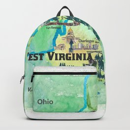 USA West Virginia State Travel Poster Map mit touristischen Highlights Backpack