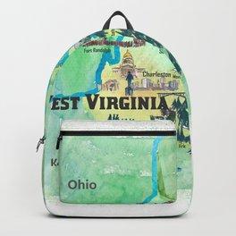 USA West Virginia State Travel Poster Map mit touristischen Highlights Backpack