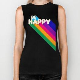 BE HAPPY - rainbow retro typography Biker Tank
