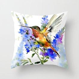 Alen's Hummingbird and Blue Flowers, floral bird design birds, watercolor floral bird art Throw Pillow