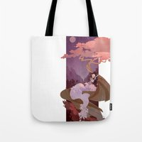 snow white Tote Bags featuring Snow White by Ann Marcellino