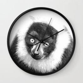 Black and white lemur animal portrait Wall Clock