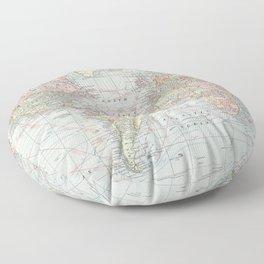 Vintage World Map (1901) Floor Pillow