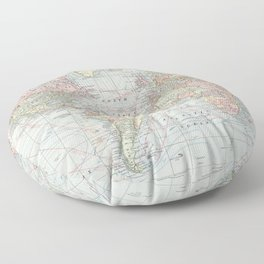 Vintage World Map (1901) Floor Pillow