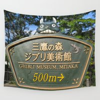 ghibli Wall Tapestries featuring THIS WAY PLEASE - GHIBLI MUSEUM by JCM Art